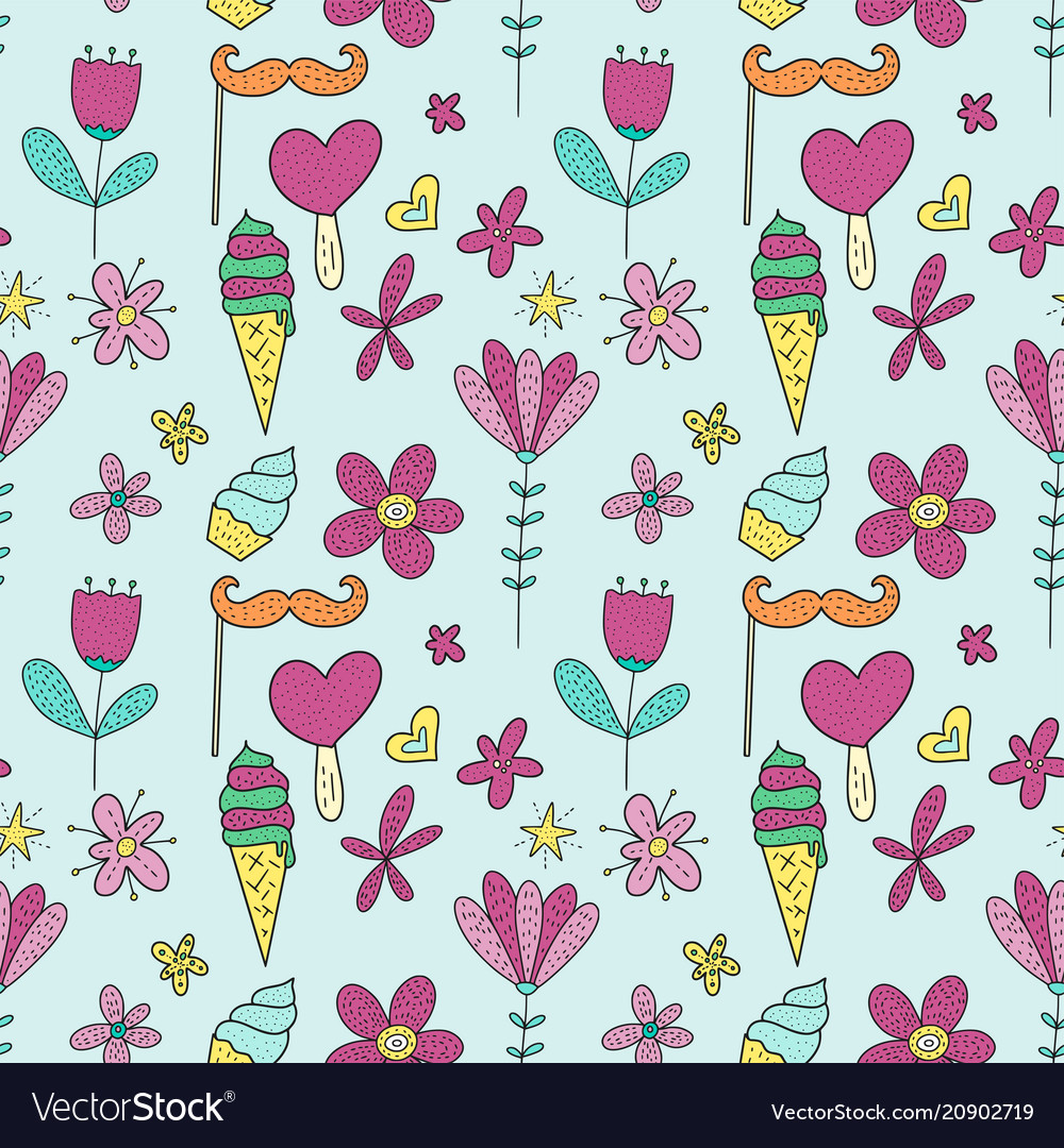 Birthday seamless pattern cute greeting vector image