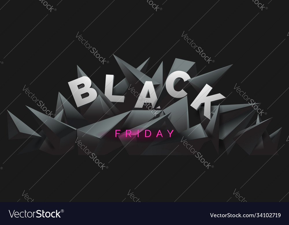 Black friday banner with 3d render abstract black
