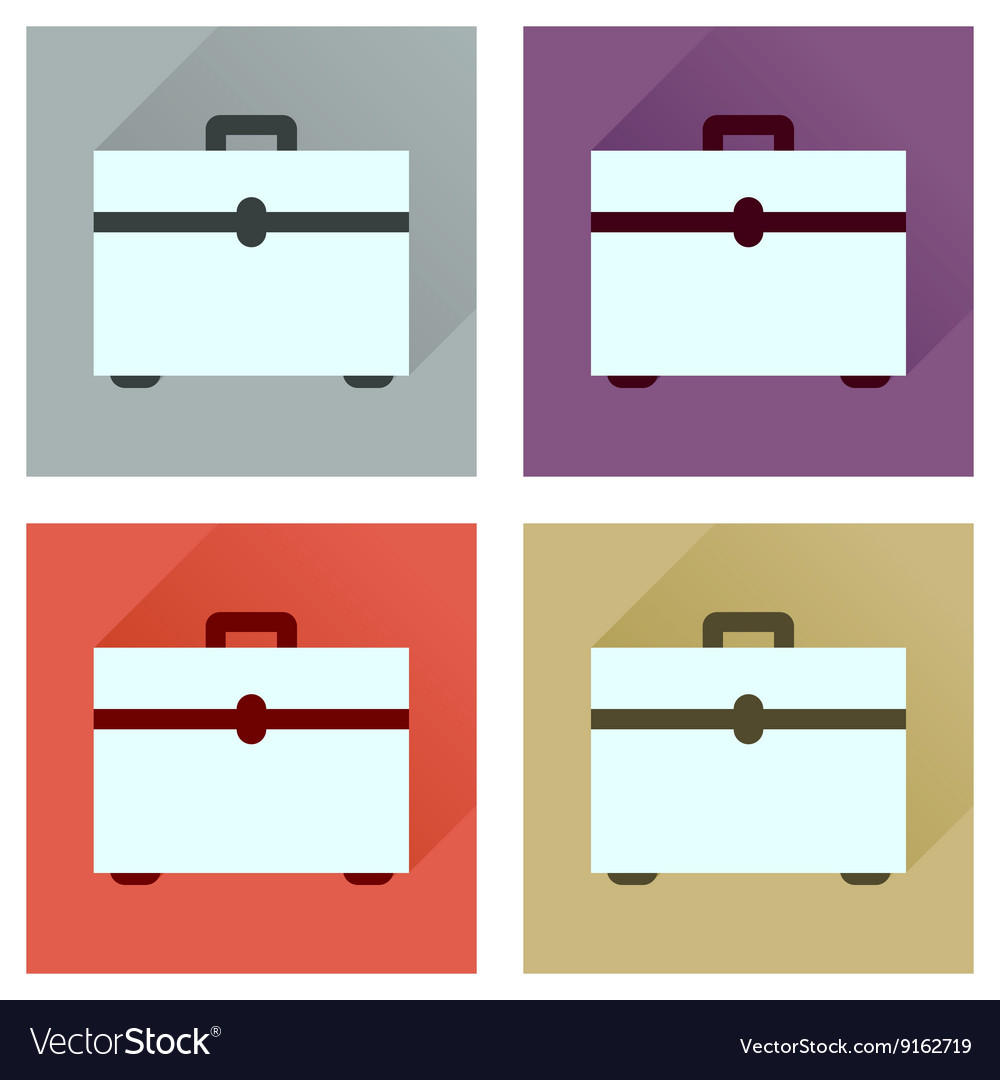 Concept flat icons with long shadow case