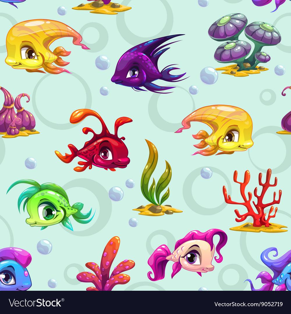 Cute underwater seamless pattern