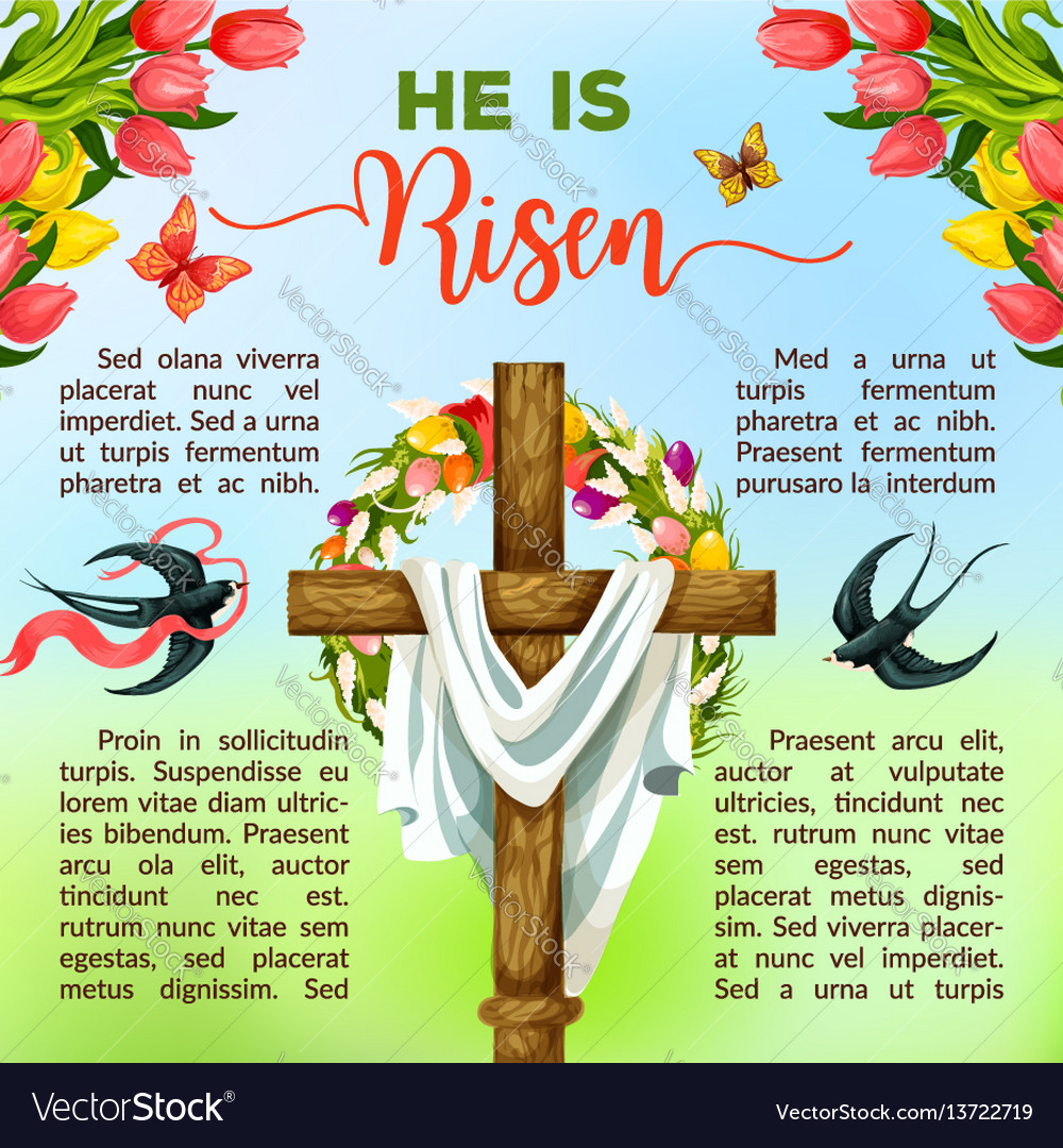 Easter cross with flower and bird poster template