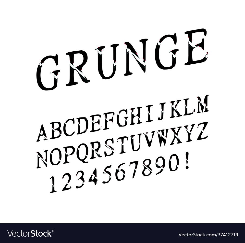 Font grunge letters and numbers