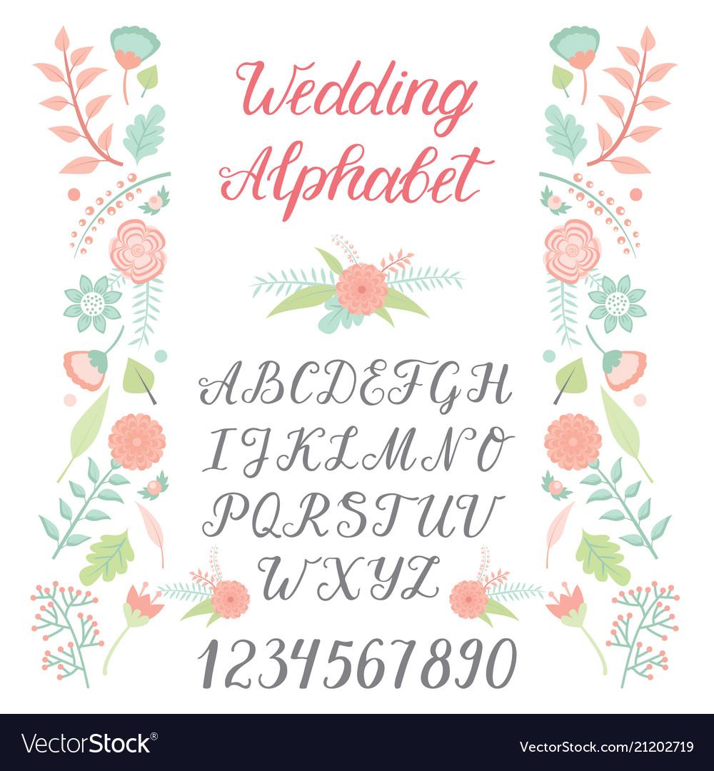 Wedding day ceremony alphabet text celebration