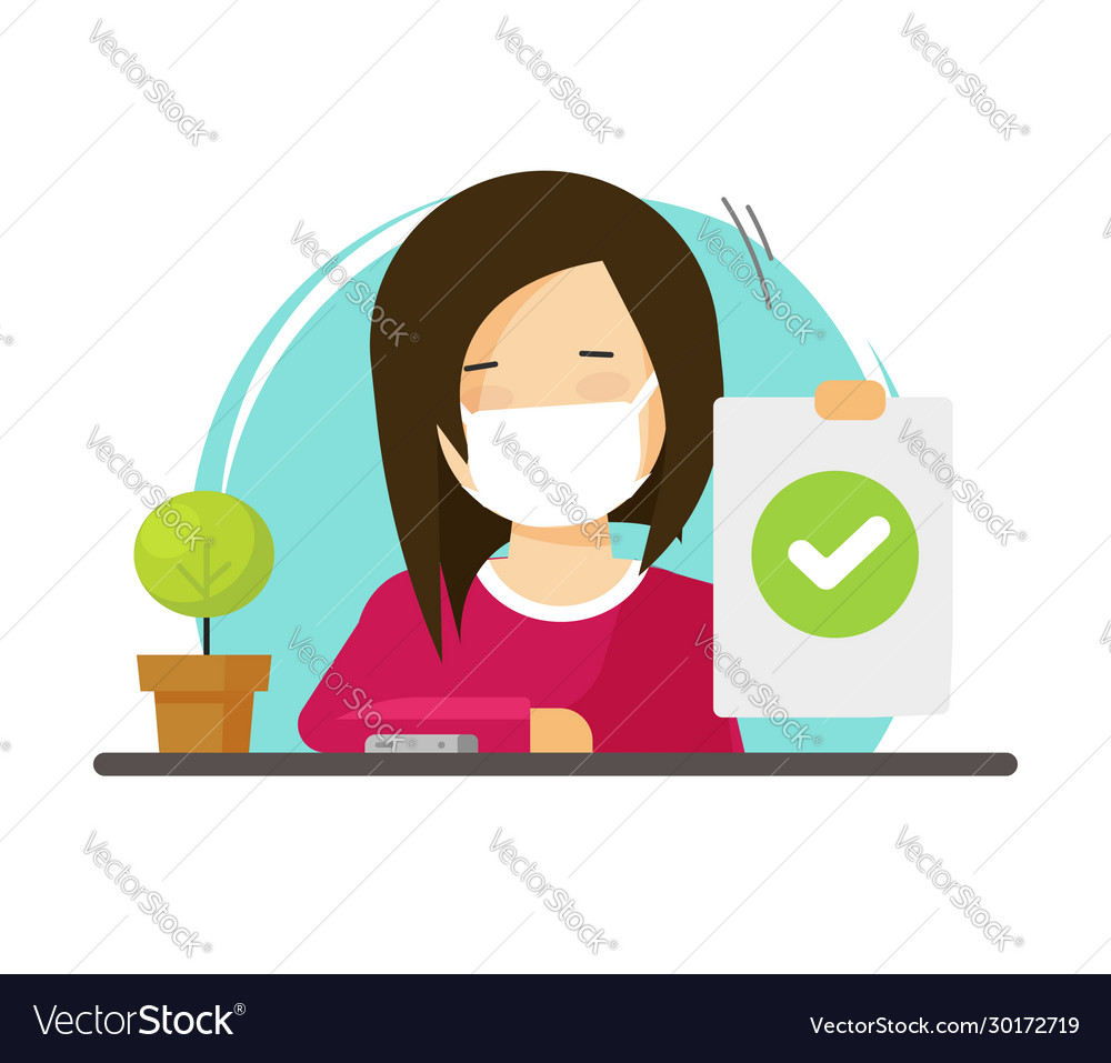 Woman person wear medical face mask sitting on