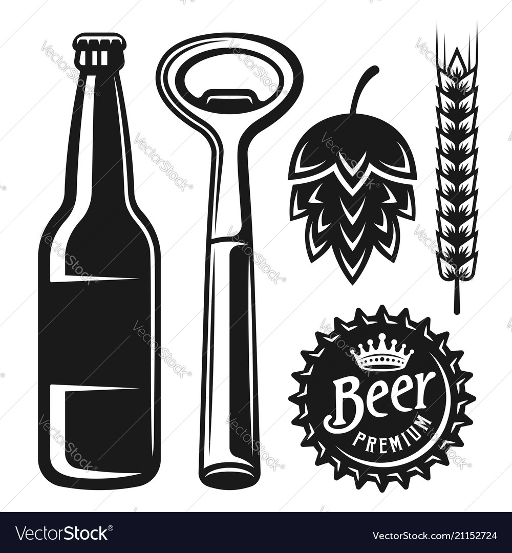 Beer elements and objects in monochrome style