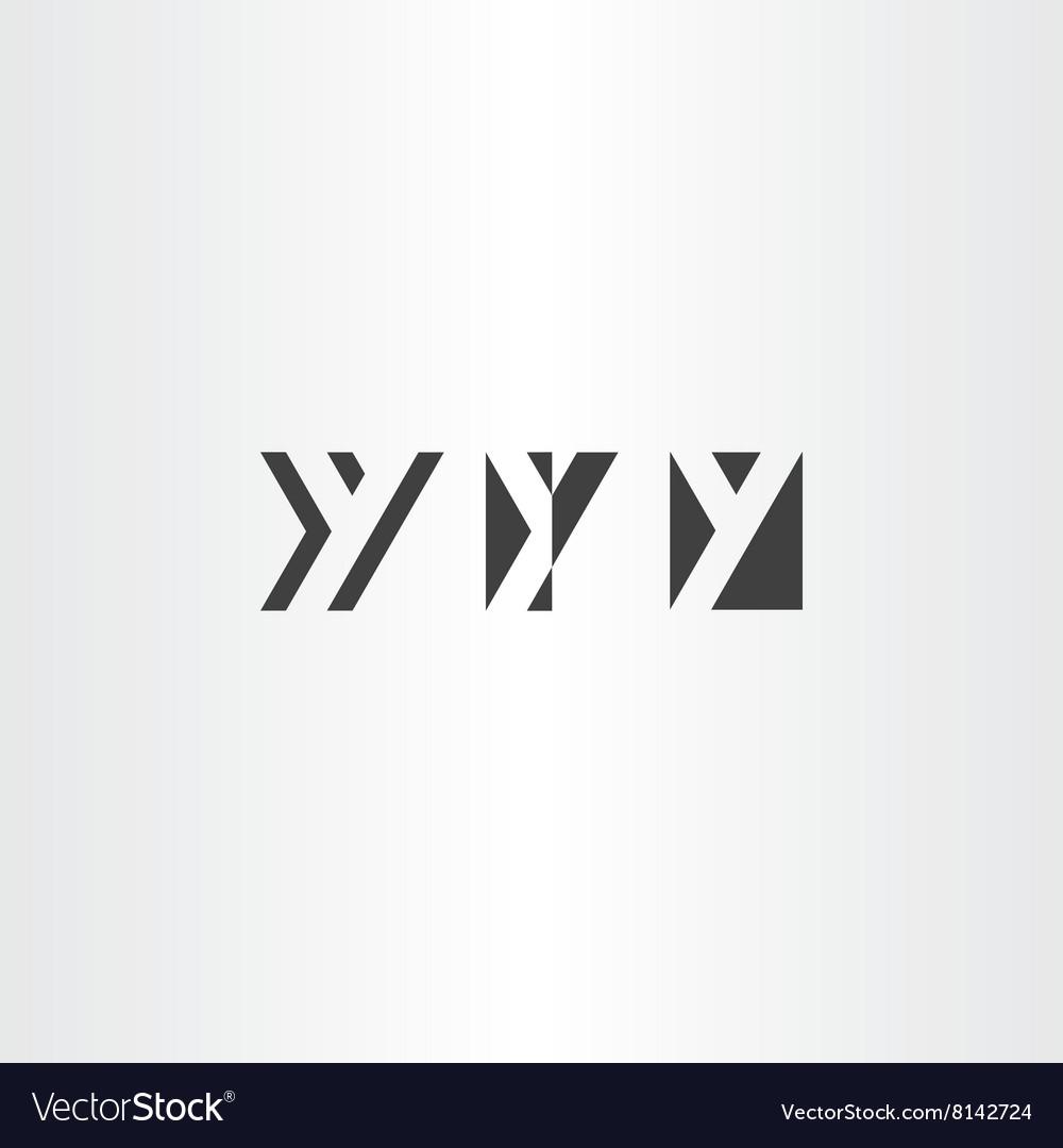 Black icons letter y set design elements