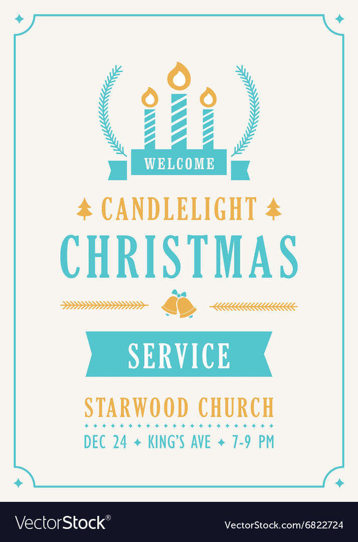 christmas candlelight service church invitation vector image