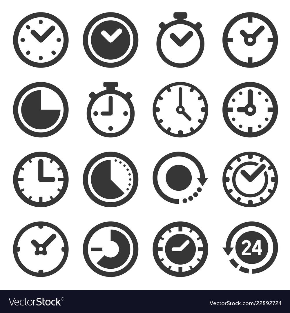 Clocks icons set on white background