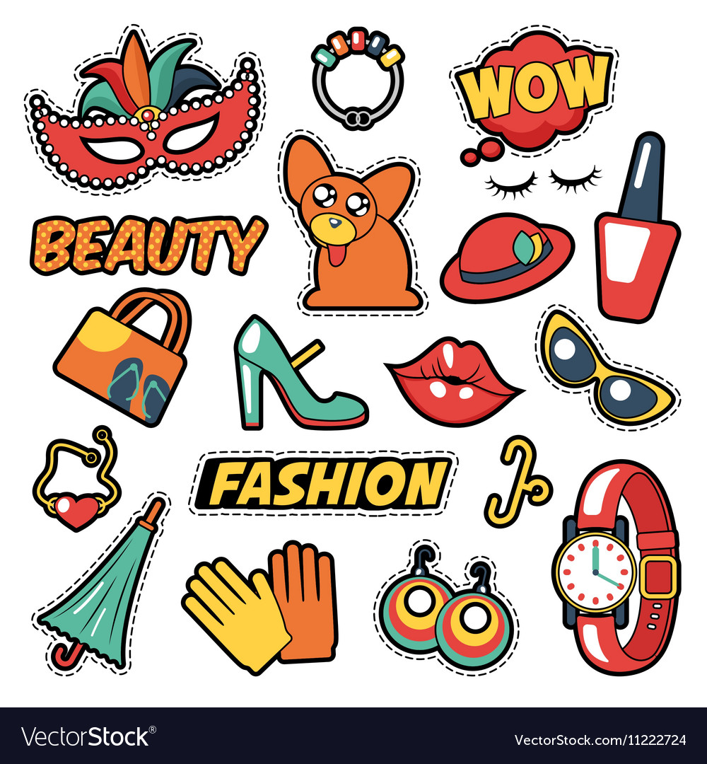 Fashion Girls Badges Patches Stickers - Clothes vector image