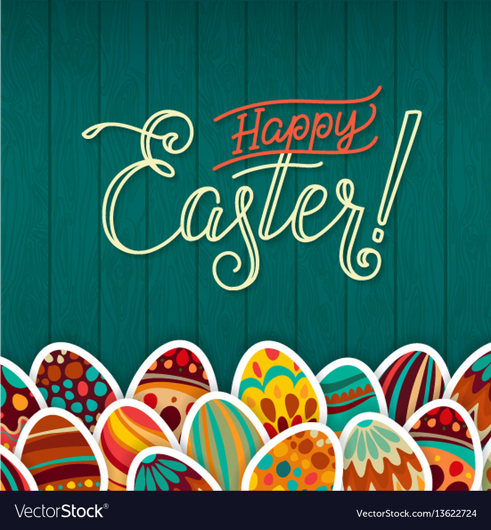 Happy easter greeting card dark green wooden
