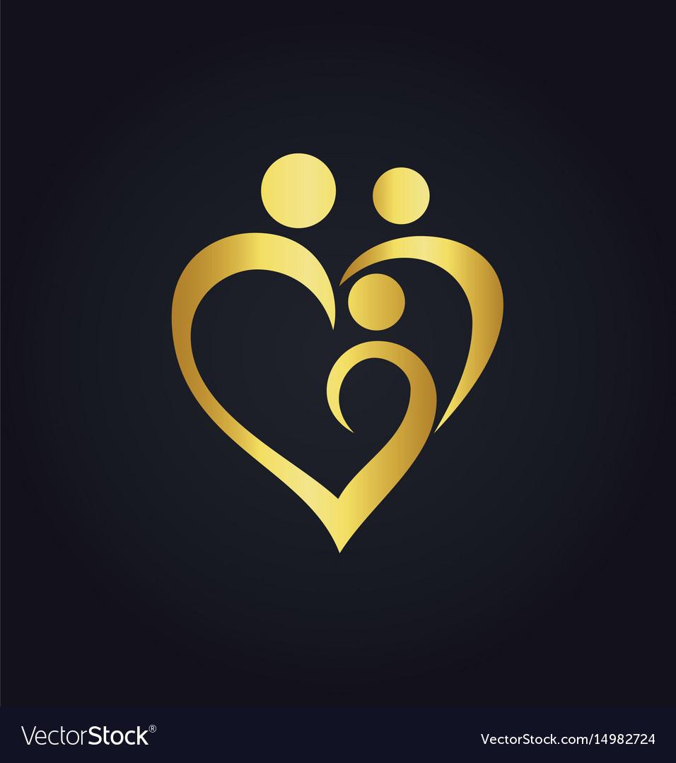 Heart love family gold logo