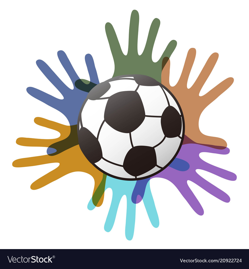 Isolated soccer ball on color hands