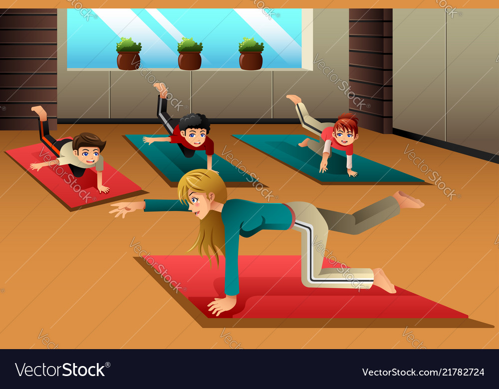 Kids In A Yoga Class Royalty Free Vector Image
