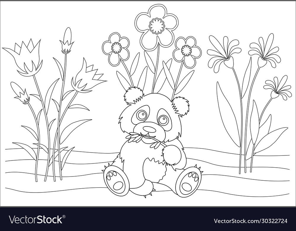 - Panda With Flower Coloring Book Royalty Free Vector Image