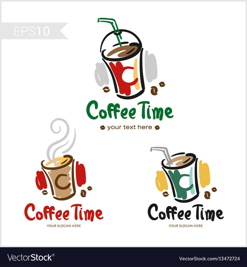 Set of retro coffee badge label logo design in