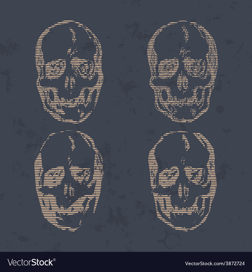 Set skulls isolated on background vector