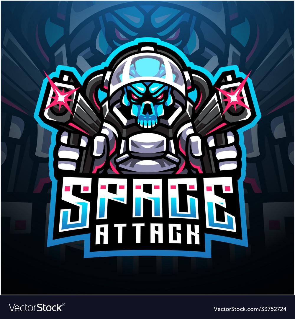 Skull space attack esport mascot logo