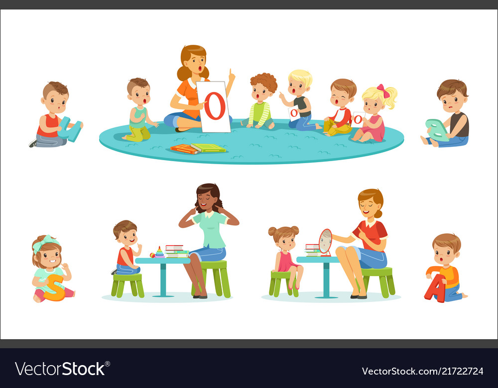 Smiling little boys and girls sitting on the floor