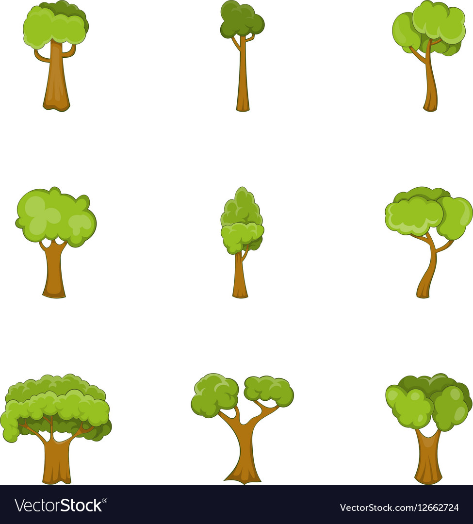 Tree branch with green leaves icons set