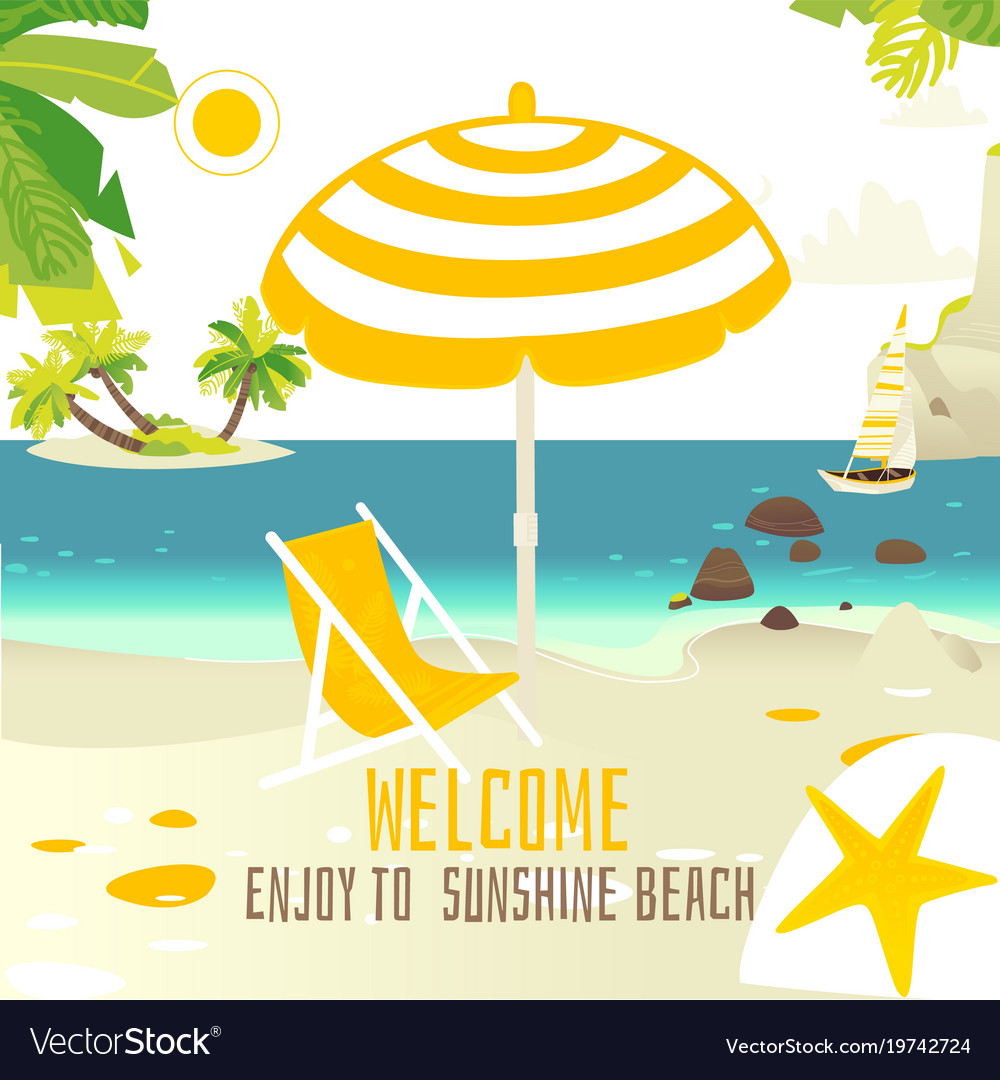 Tropic beach banner with rocks yacht sun chair