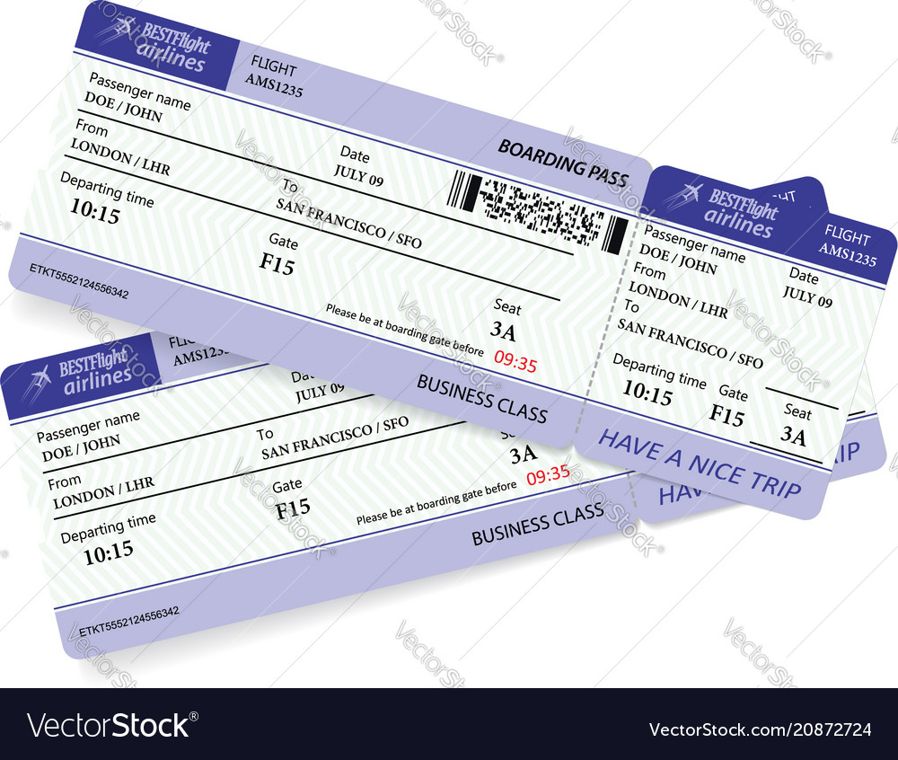 Variant of two violet boarding pass vector image