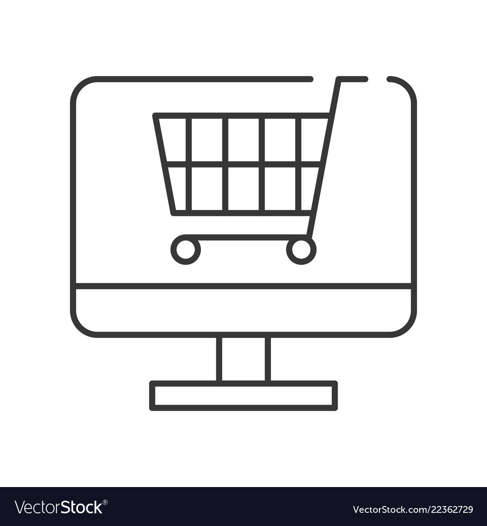 Cart on computer screen line icon shopping online