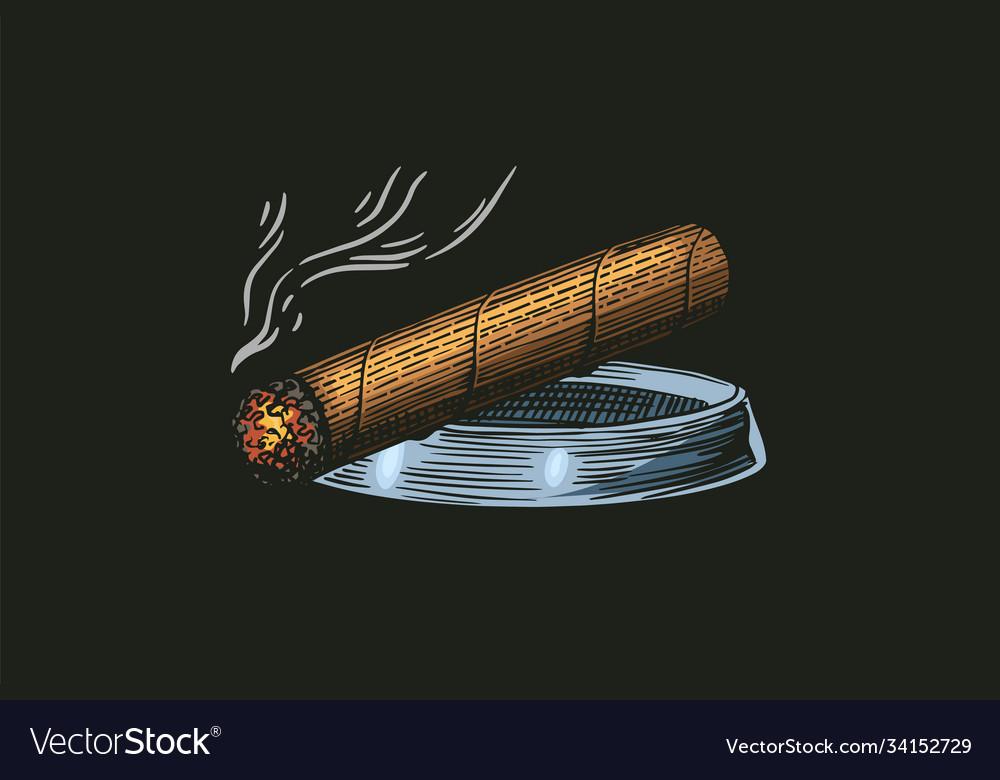 Cigar or smoke gentleman emblem bad habit
