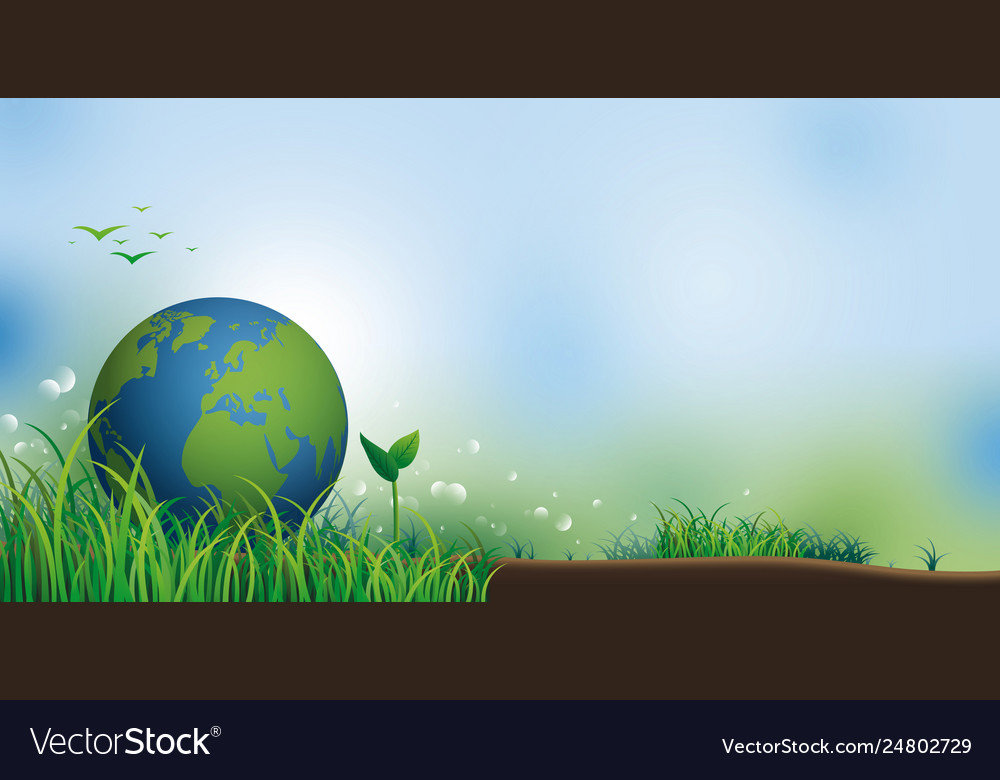 Earth on grass with copy space