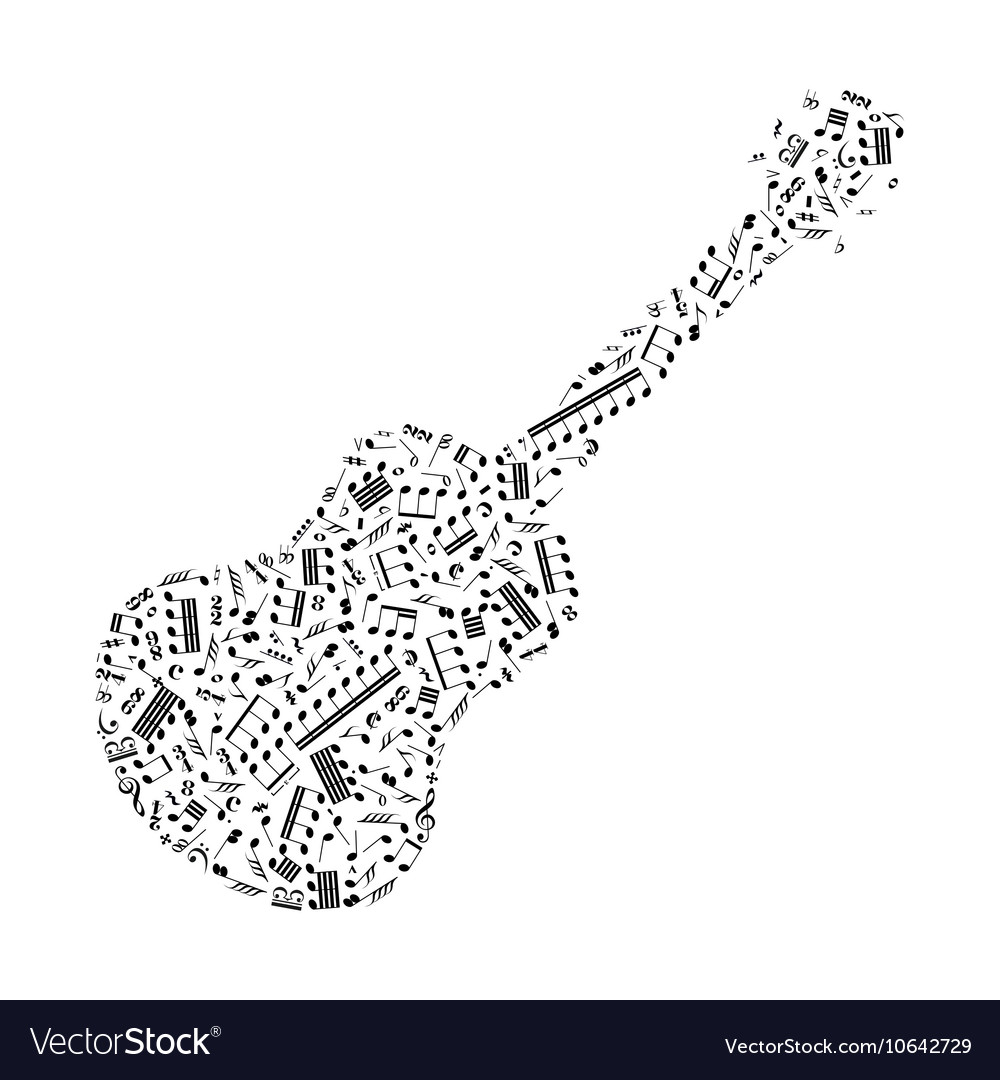 Guitar silhouette made up from music notes on