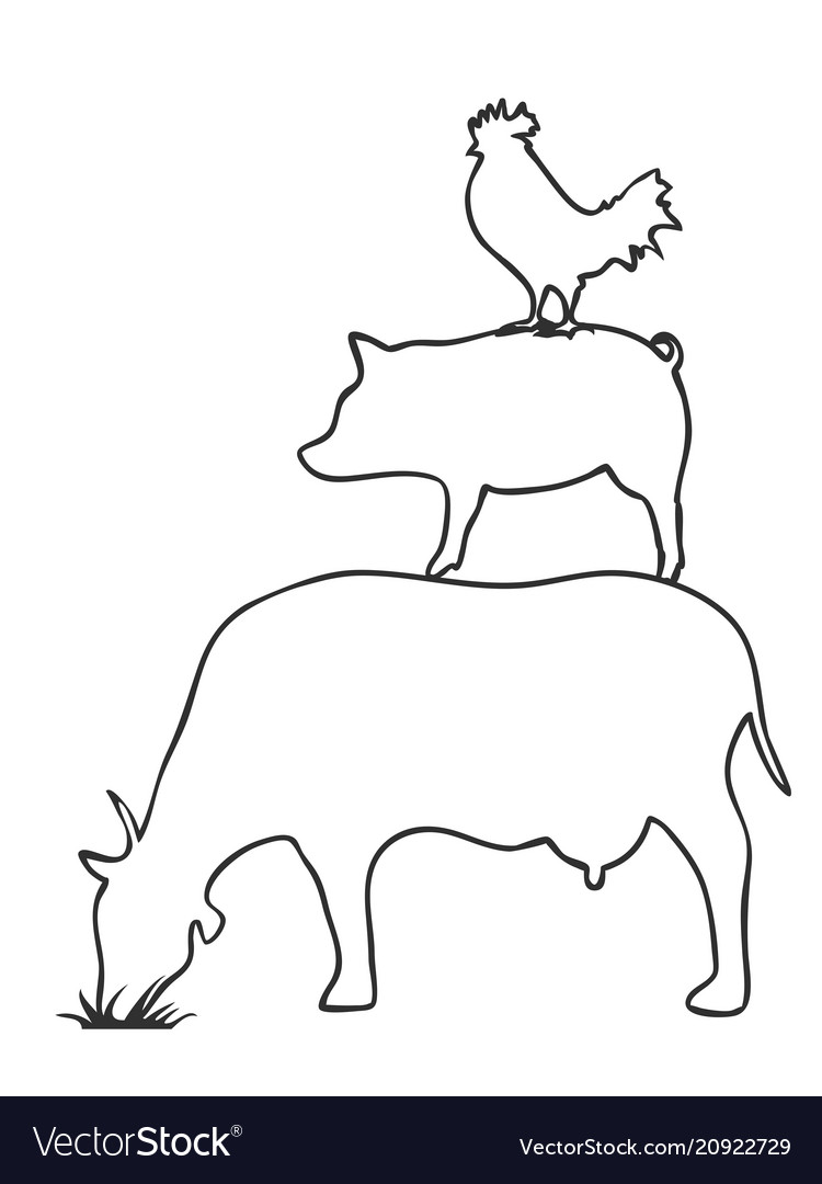 Pig cow chicken logooutline vector image