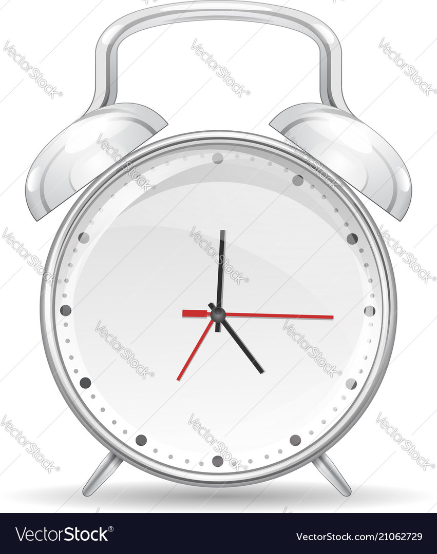 Realistic Red Metal Alarm Clocks On Vector Image
