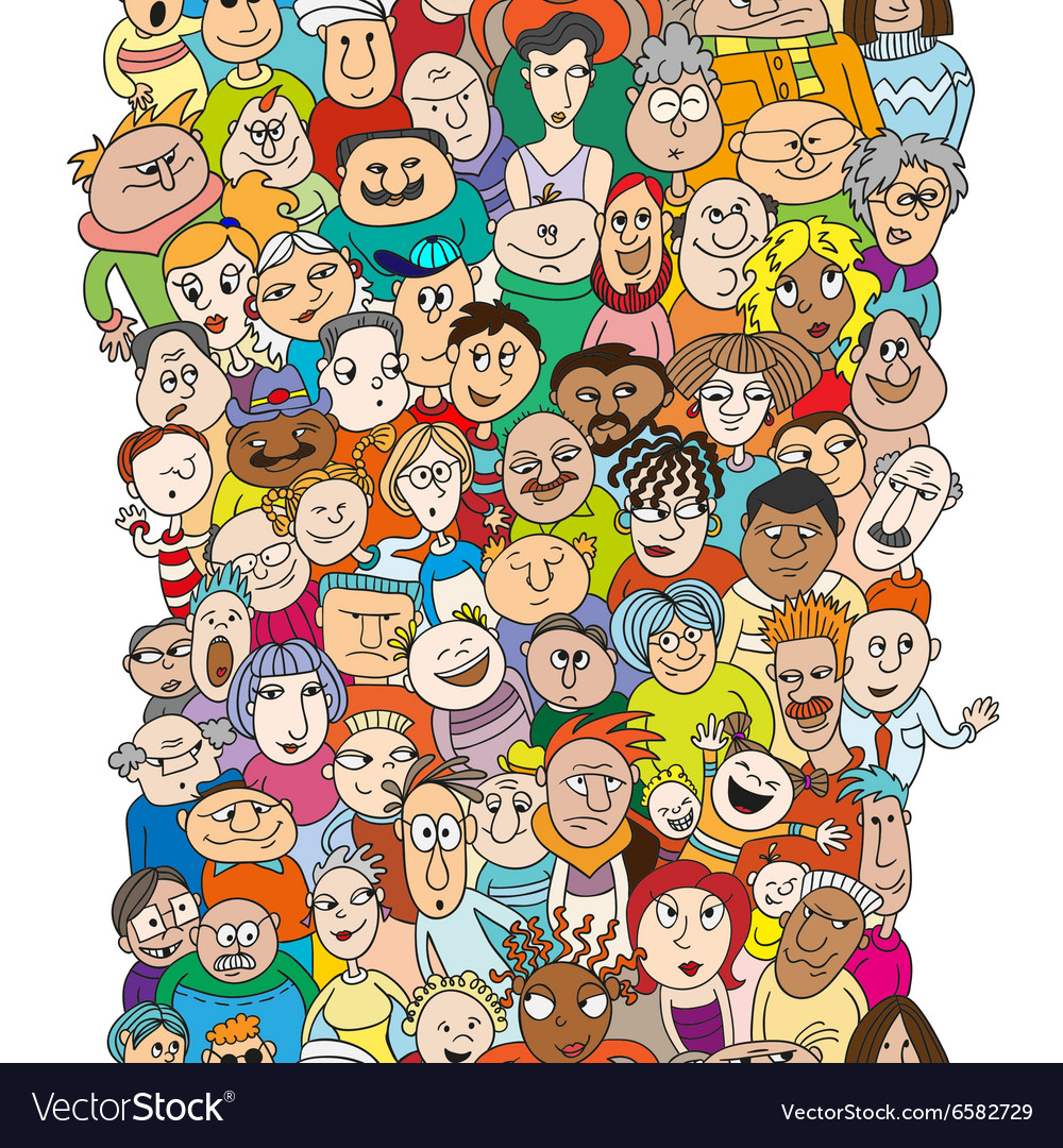 Seamless pattern with a funny cartoon people faces