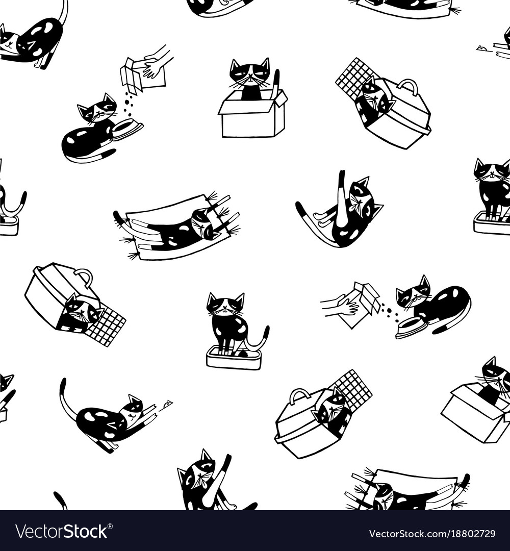 Seamless pattern with funny cat hand drawn in