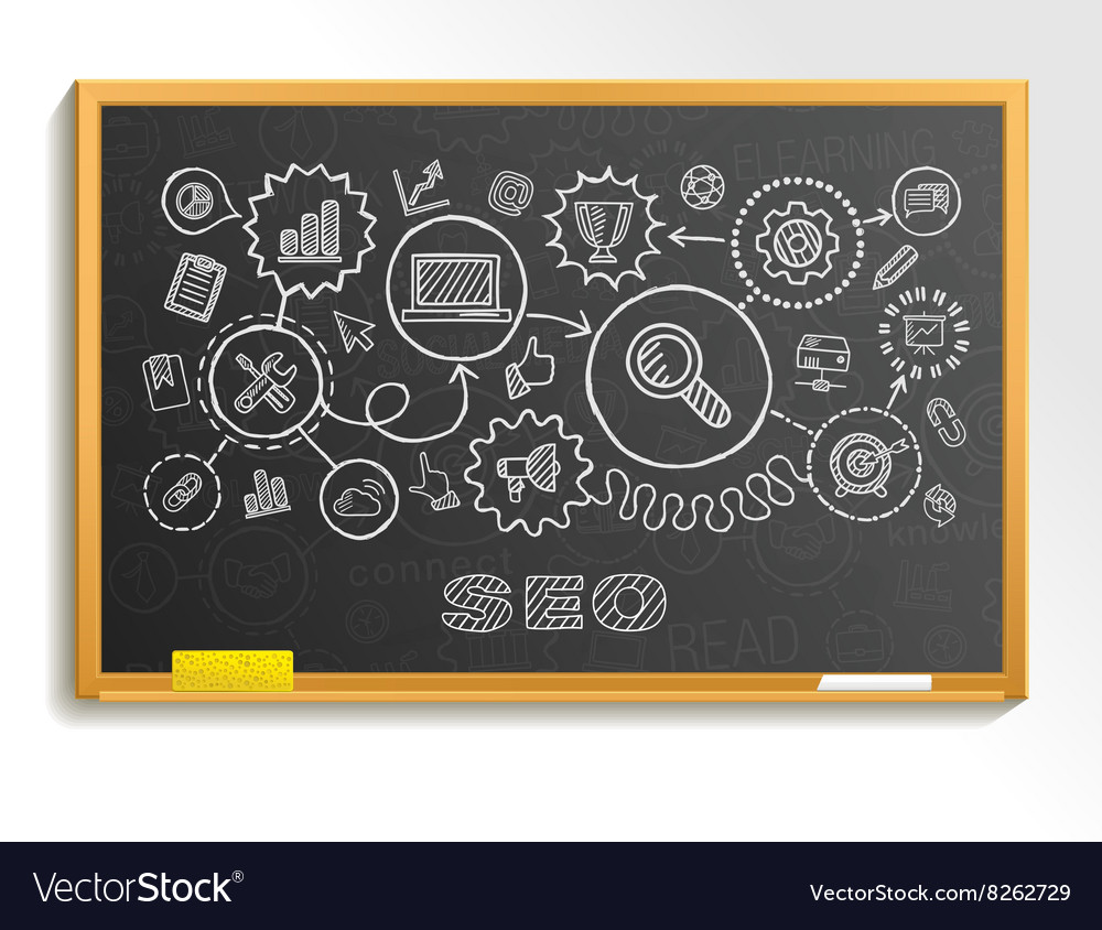 SEO hand draw integrated icons set on school