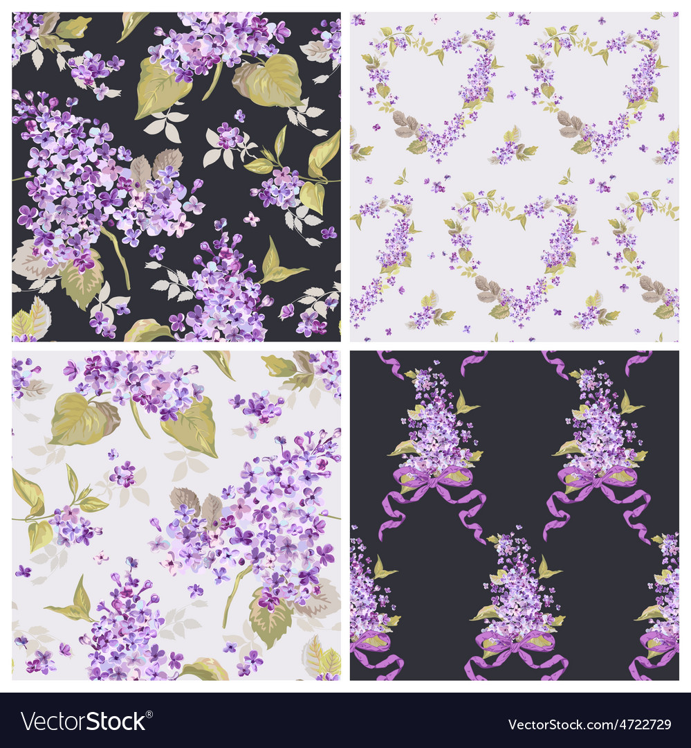 Set Of Spring Flowers Backgrounds Royalty Free Vector Image