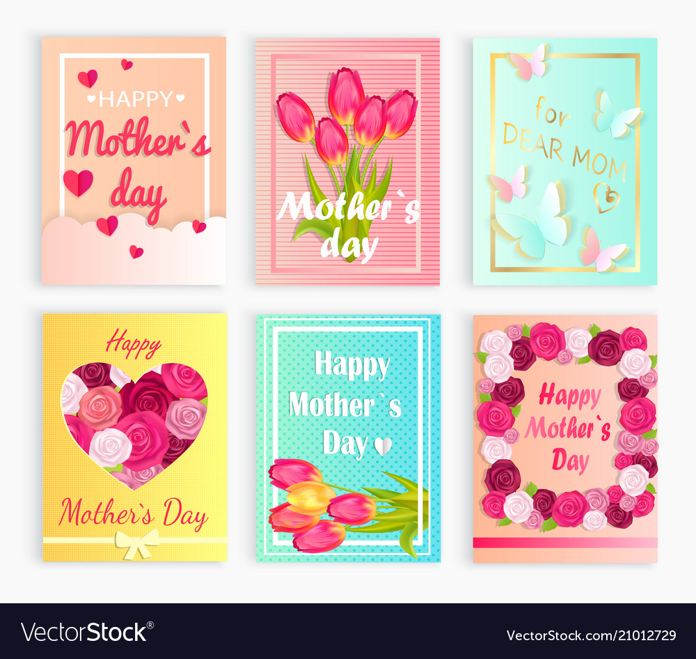 Six cute cards with hearts flowers for mom s day