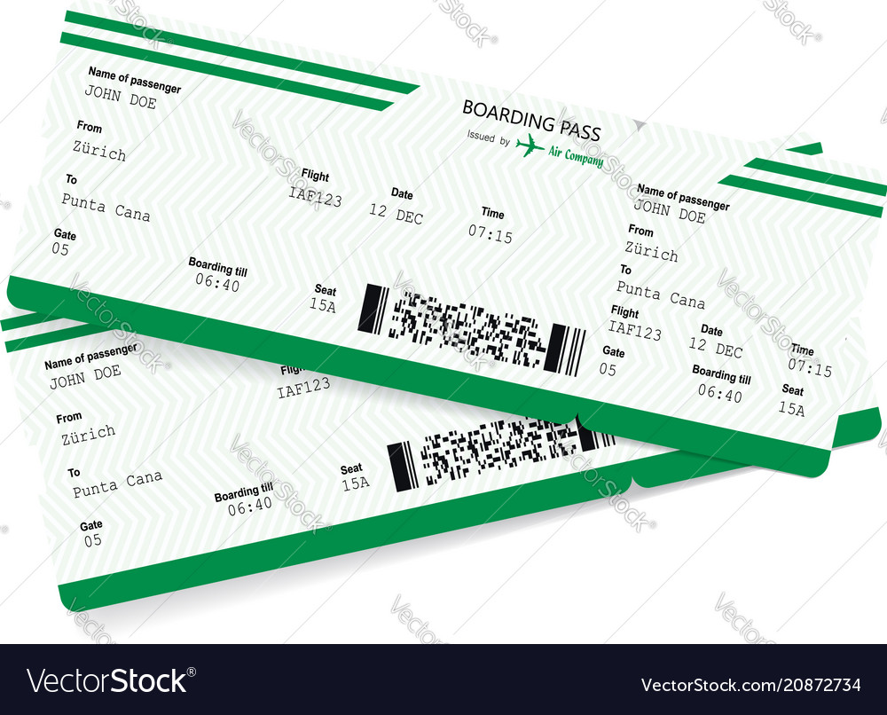 Airplane ticket blank green boarding pass