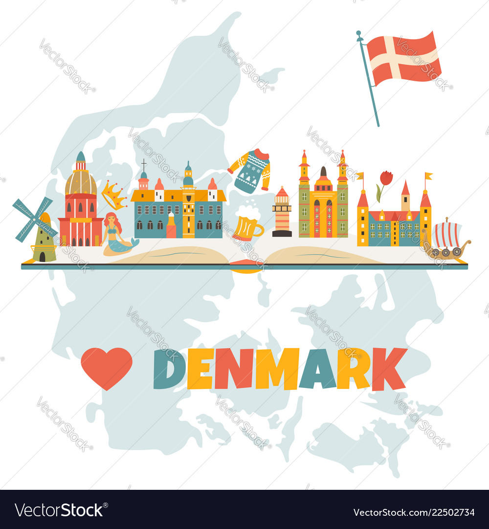 Banner with danish symbols famous places
