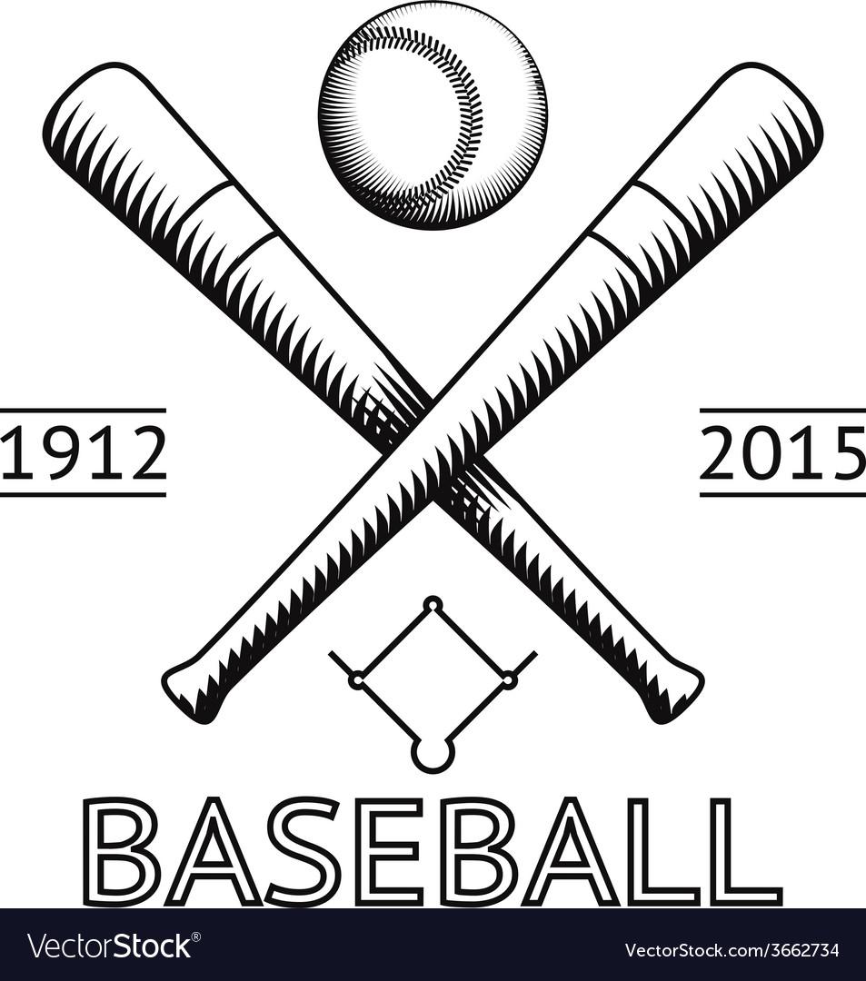 Baseball Logo Symbol Bat Ball Game Field Icon vector image