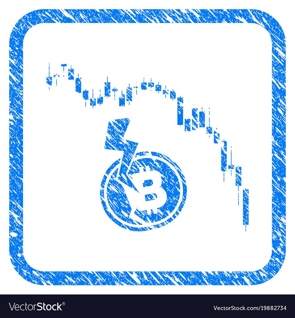 Candlestick chart bitcoin crash framed stamp