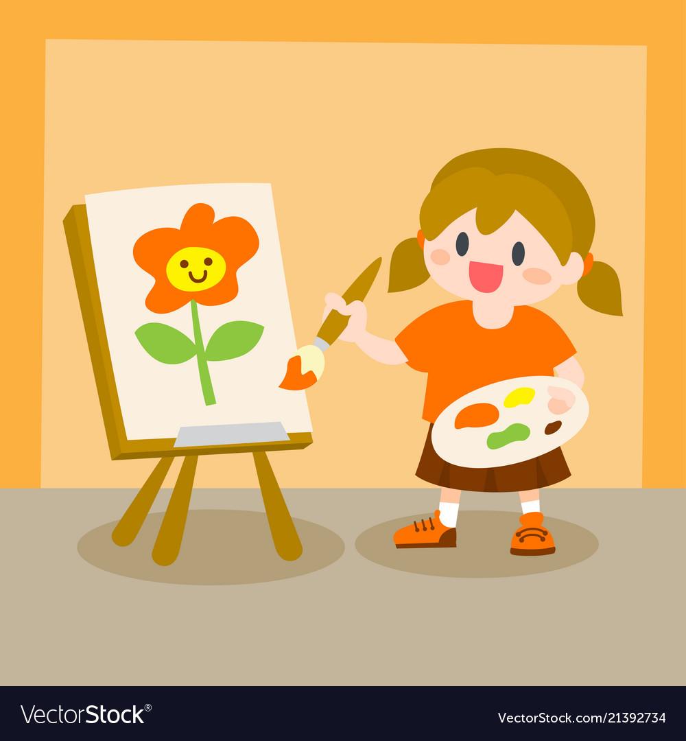 Children little girl painting on canvas