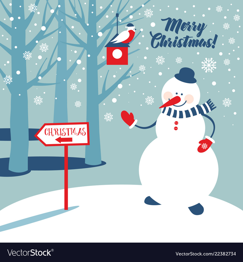Christmas background with snowman and snowflakes