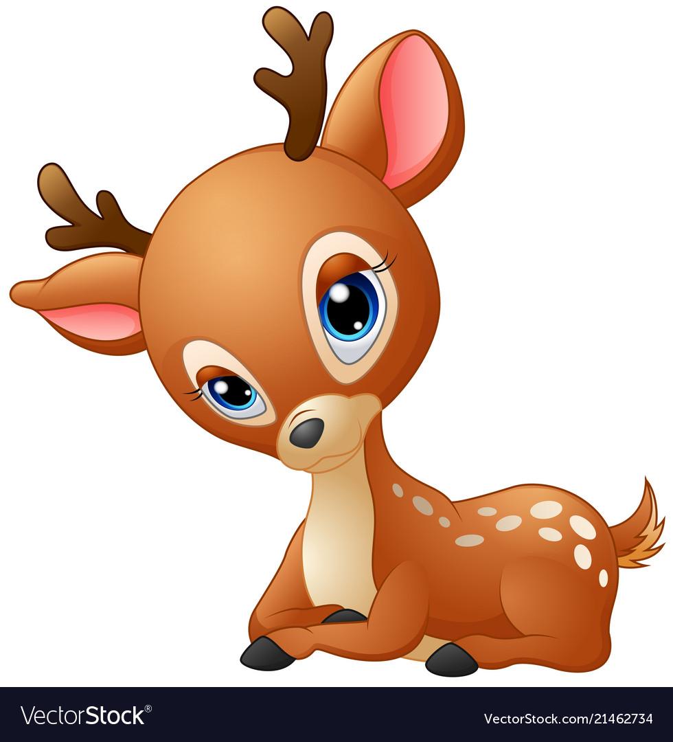Cute baby deer cartoon Royalty Free Vector Image