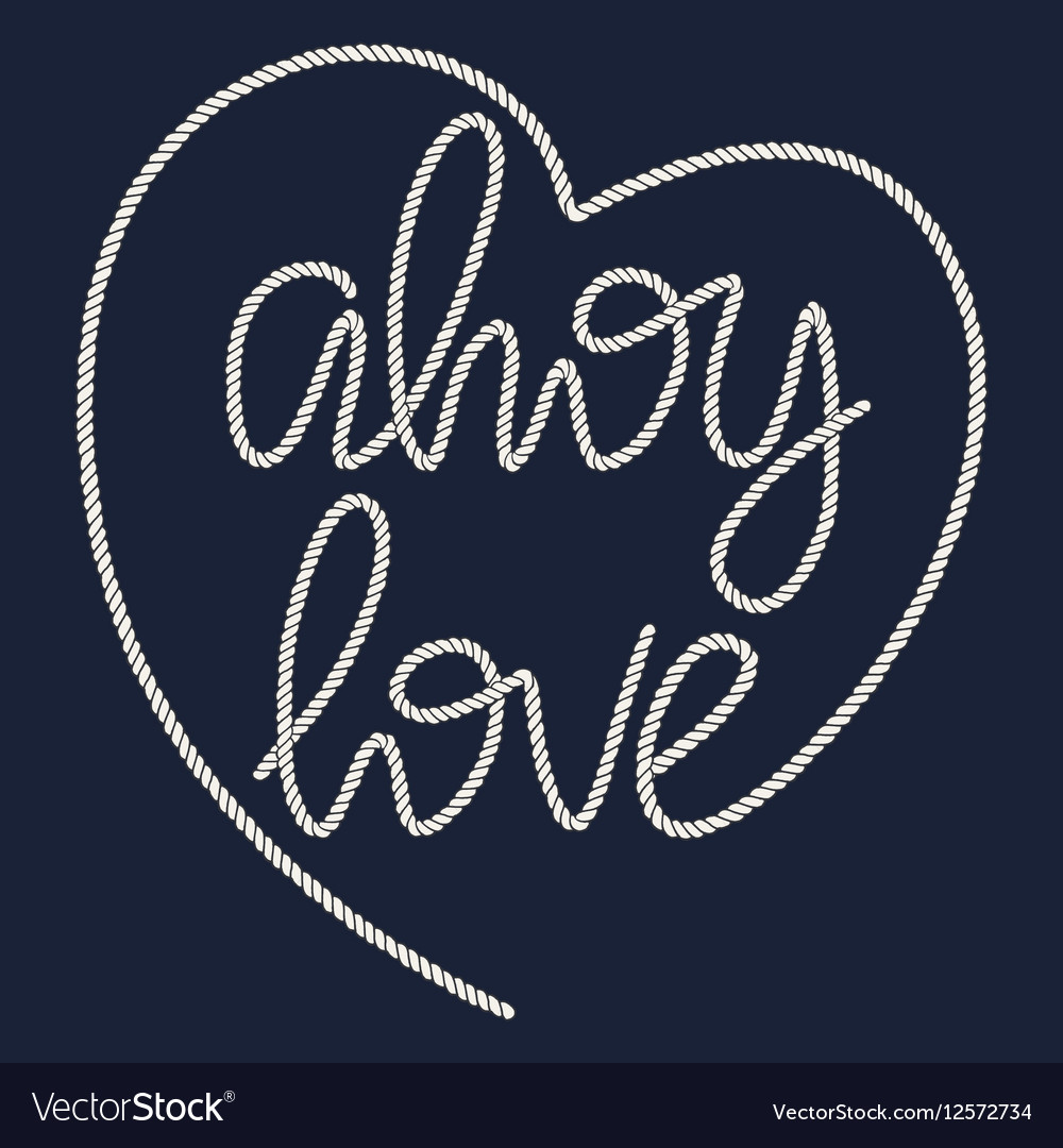Decorative rope hand lettering Ahoy Love vector image