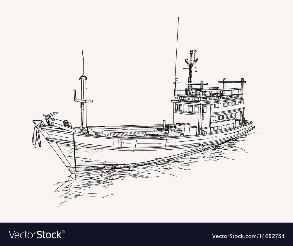 Drawing of fishing trawler at the sea sketch