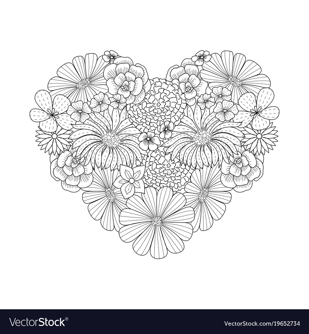 Floral heart shape doodle style coloring book