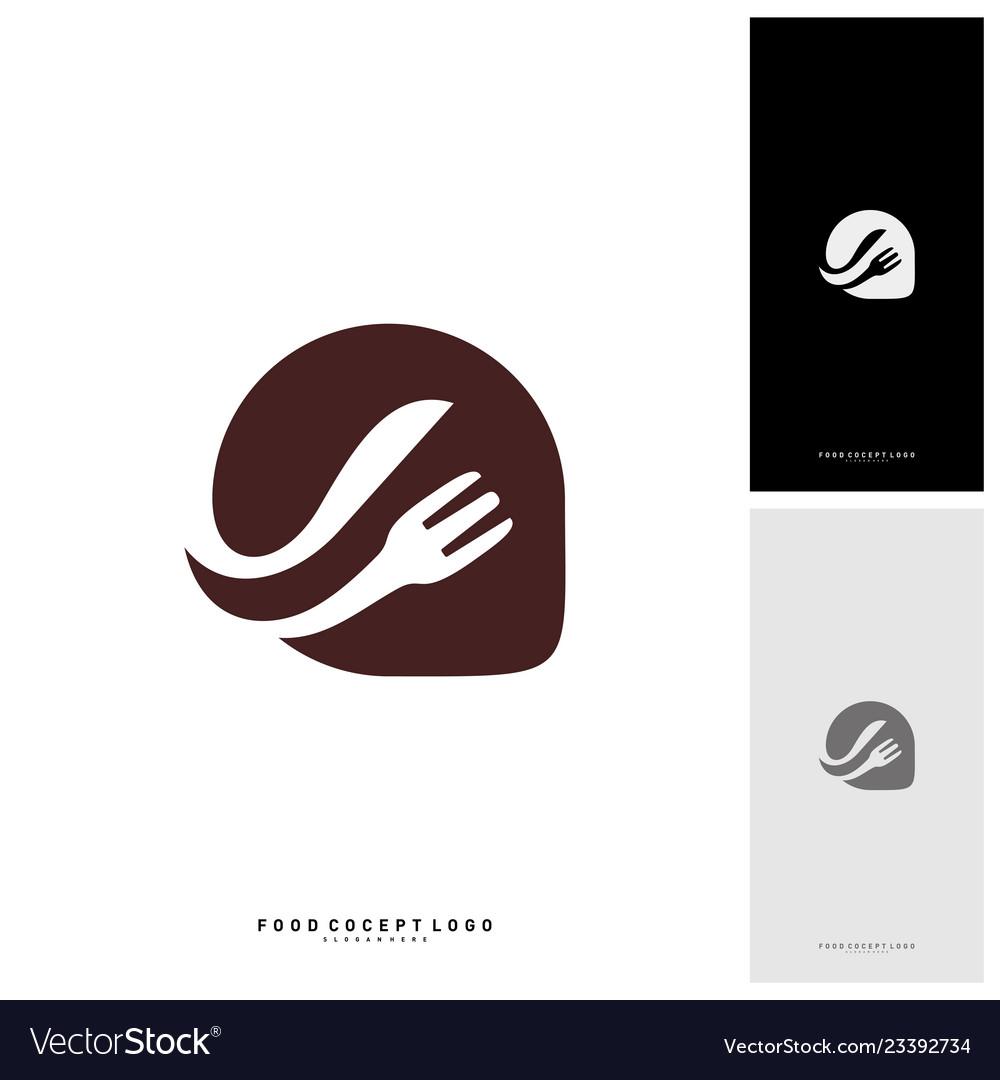 Food talk logo concept designs food discuss logo