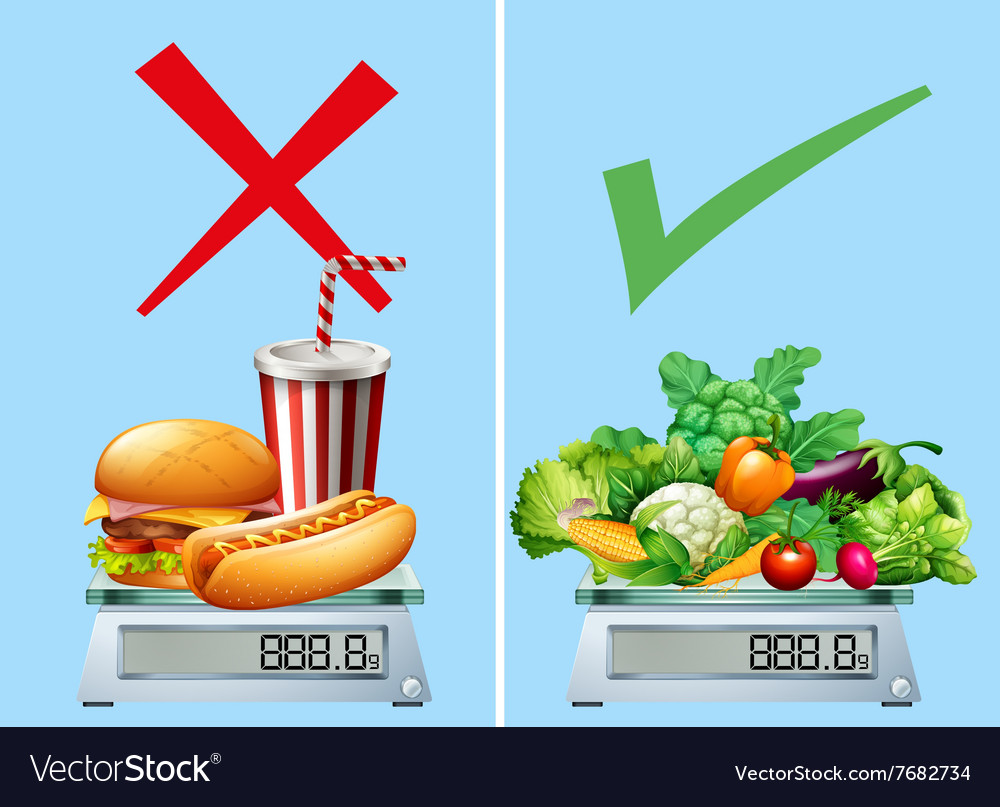 Healthy food versus junkfood Royalty Free Vector Image
