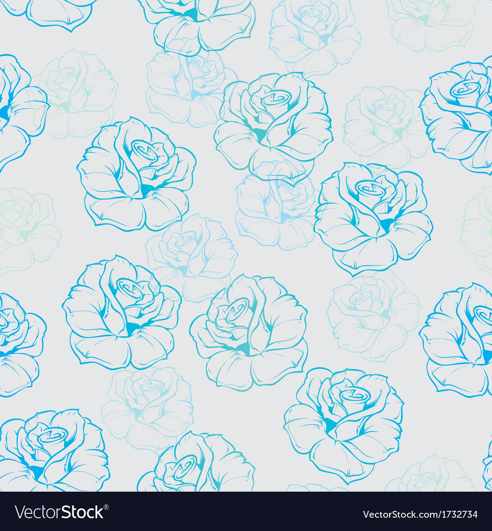 Seamless Floral Background With Blue And Mint Rose