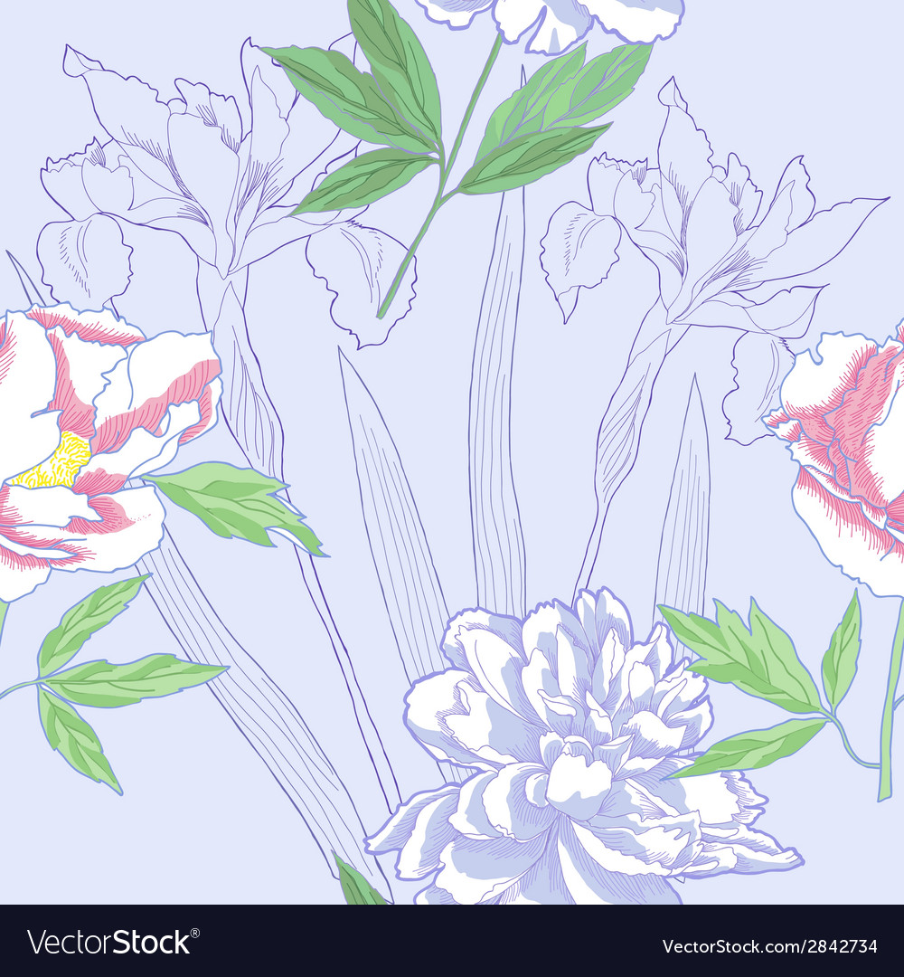 Seamless pattern with peonies and irises vector image